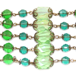 Green Faceted Glass & MetalBeads by Halcraft Collection