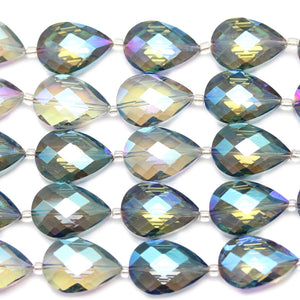 Aqua Iris Faceted Glass Teardrop 18x25mm