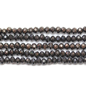 Bead, Beads, Glass, Glass Beads, Glass Bead, Faceted, Luster, Black, Rondell, Rondell Beads, Rondell Bead, 3x4mm, 3mm, 4mm, 39776