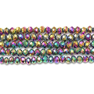 Bead, Beads, Glass, Glass Beads, Glass Bead, Faceted, Iris, Coated, Multi, Rondell, Rondell Beads, Rondell Bead, 3x4mm, 3mm, 4mm, 39766
