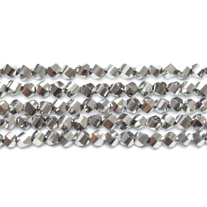 Bead, Beads, Glass, Glass Beads, Glass Bead, Faceted, Silver, Round, Round Beads, Round Bead, 4mm, 39768