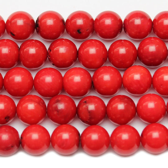 Red Dyed Bamboo Coral Round 7mm Beads by Halcraft Collection