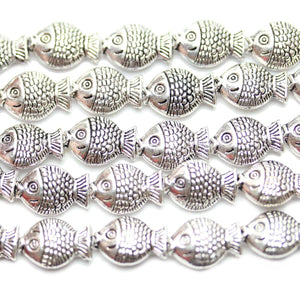 Bead, Beads, Metal, Metal Bead, Metal Beads, Silver Plated, Silver Plated Beads, Silver Plated Bead, Zinc Alloy, Silver, Fish, Fish Beads, Fish Bead, 8x11mm, 8mm, 11mm, 32887