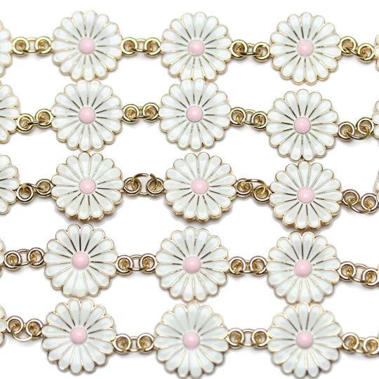 White Flower Enamel and Metal Connector 18x25mm Connector by Halcraft Collection