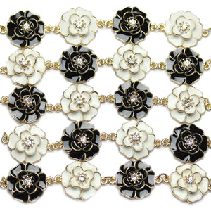 Connector, Connectors, Metal Connector, Glass Connector, Glass, Metal, Black, White, Crystal, Gold, 25x33mm, 25mm, 33mm, Flower, Flower Connector, Flower Connectors