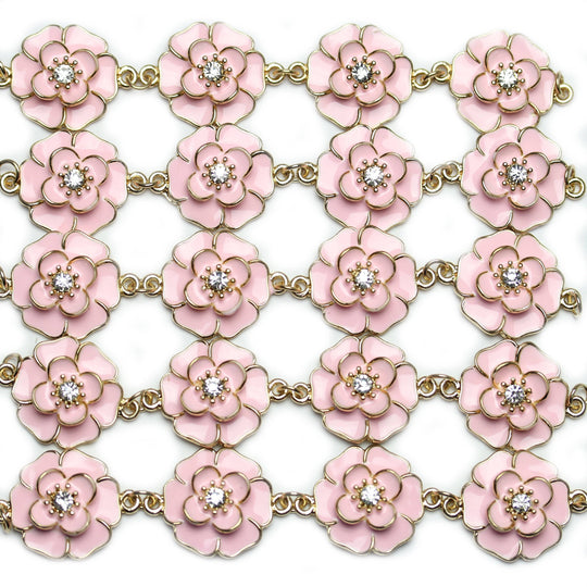 Pink Flower Enamel and Rhinestone Metal Connector 25x33mm Connector by Halcraft Collection