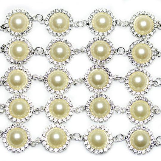 White Acrylic Pearl and Rhinestone Metal Connector 20x28mm Connector by Halcraft Collection