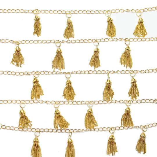 Gold Tone Plated Brass Tassel 7x22mm Beads by Halcraft Collection