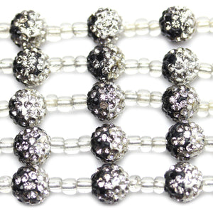 Crystal and Black Rhinestone Ball 10mm