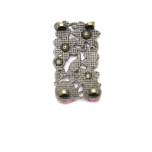 Pink Floral Rhinestone and Metal Slider 18x31mmSlider by Bead Gallery