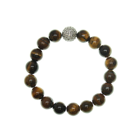 Yellow Tiger Eye 8mm Round and Pave Bead Stretch Bracelet