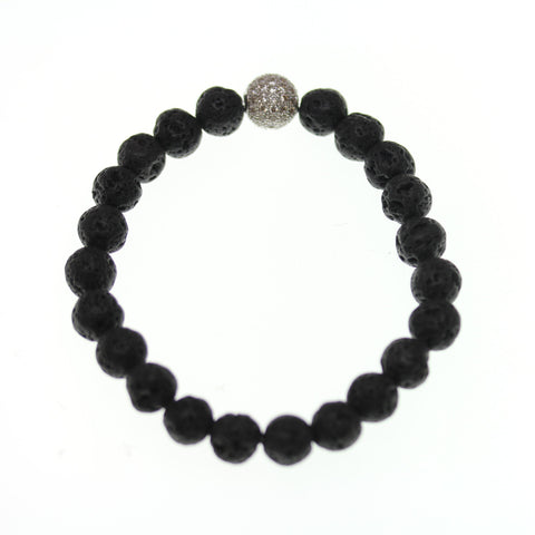 Lava Stone 8mm Round and Pave Bead Stretch Bracelet