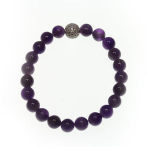 Amethyst Stone 8mm  Round and Pave Bead Stretch BraceletBracelets by Bead Gallery