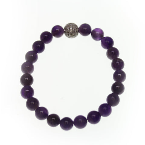 Amethyst Stone 8mm Round and Pave Bead Stretch Bracelet