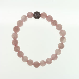 Rose Quartz Stone 8mm  Round and Pave Bead Stretch BraceletBracelets by Bead Gallery