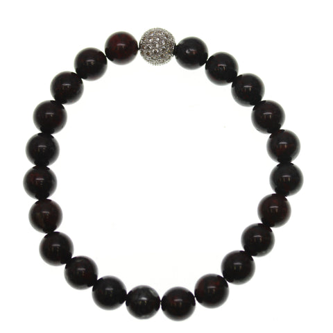 Brecciated Stone 8mm Round and Pave Bead Stretch Bracelet