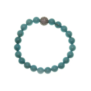 Dyed Turquoise Howlite Stone 8mm Round and Pave Bead Stretch Bracelet