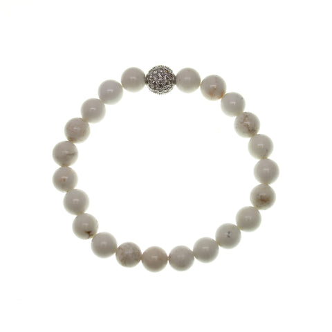 White Howlite Stone 8mm Round and Pave Bead Stretch Bracelet