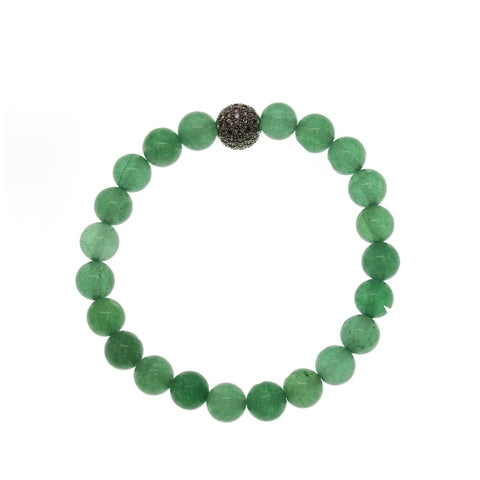 Green Aventurine Stone 8mm Round and Pave Bead Stretch Bracelet