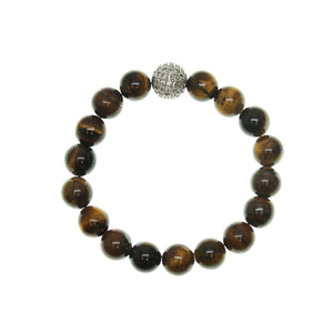 Yellow Tiger Eye 10mm Round and Pave Bead Stretch Bracelet