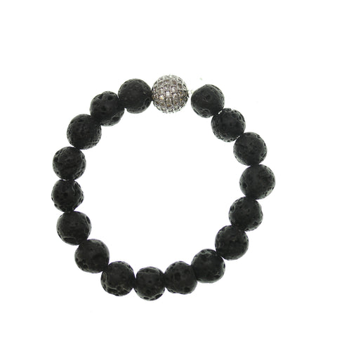 Lava Stone 10mm Round and Pave Bead Stretch Bracelet