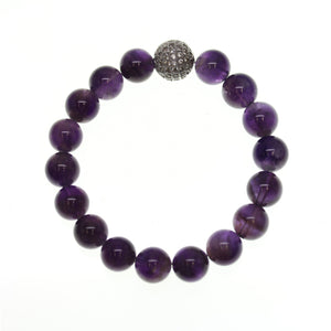 Amethyst Stone 10mm Round and Pave Bead Stretch Bracelet