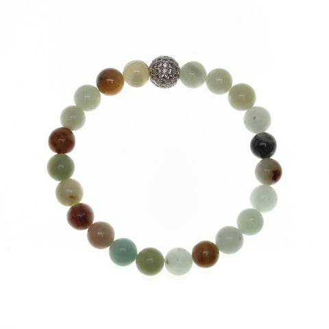 Amazonite Stone 10mm Round and Pave Bead Stretch Bracelet