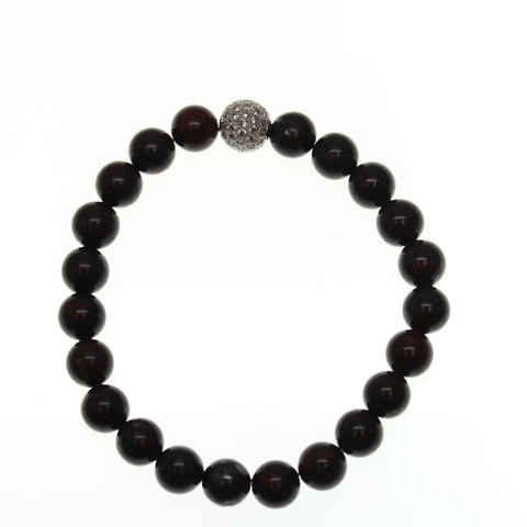 Brecciated Stone 10mm Round and Pave Bead Stretch Bracelet