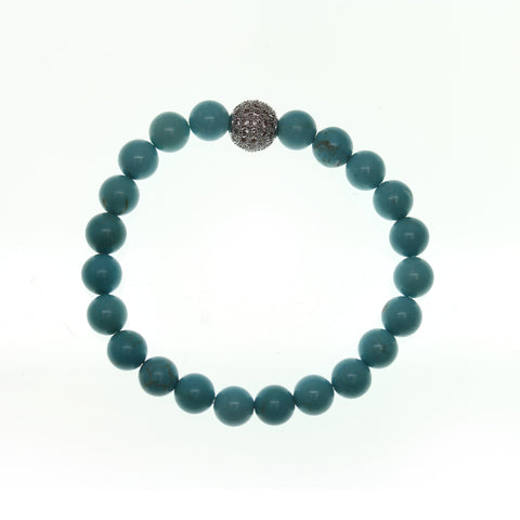 Dyed Turquoise Howlite Stone 10mm Round and Pave Bead Stretch Bracelet