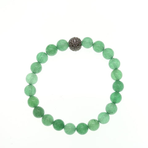 Green Aventurine Stone 10mm Round and Pave Bead Stretch Bracelet