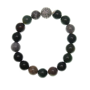 Indian Agate Stone 10mm Round and Pave Bead Stretch Bracelet