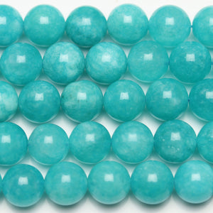 Aqua Dyed Dolomite Round 8mm Beads by Halcraft Collection