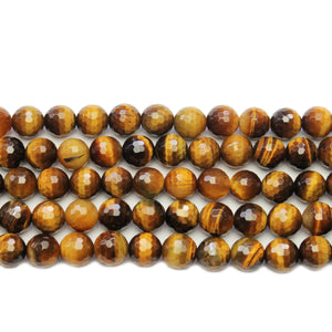 Tiger Eye Faceted Stone Round 8mm BeadsBeads by Halcraft Collection