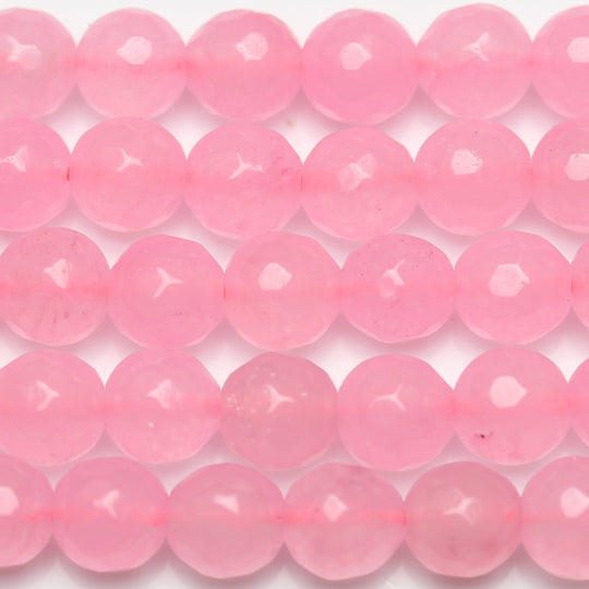 Pink Dyed Jade Faceted Round 10mm