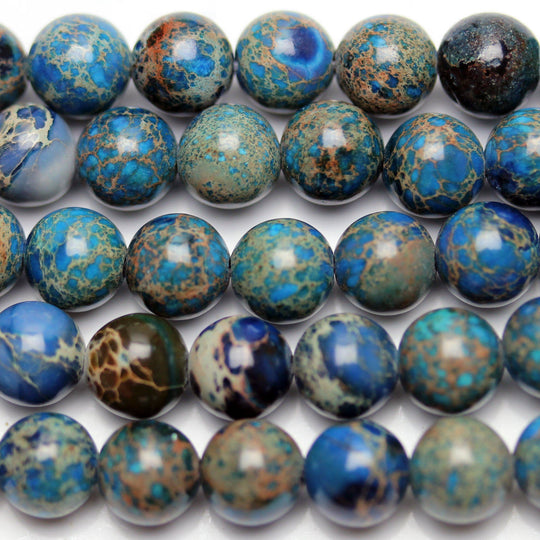 Blue Dyed Imperial Jasper Round 6mm