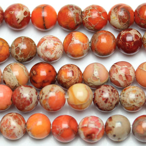Orange Dyed Imperial Jasper Round 6mm