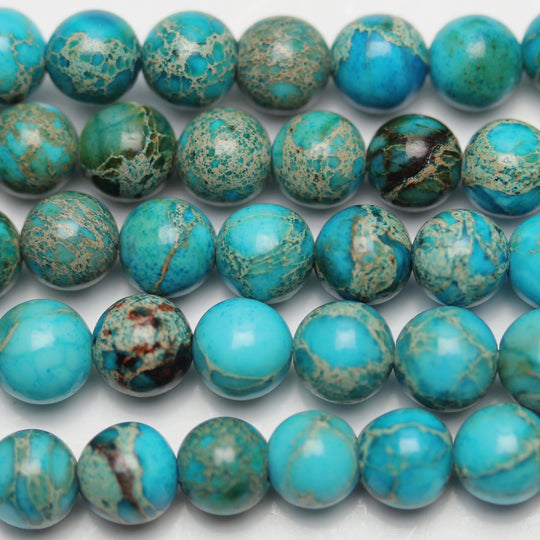 Aqua Dyed Imperial Jasper Round 6mm Beads by Halcraft Collection