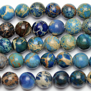 Blue Dyed Imperial Jasper Round 8mm