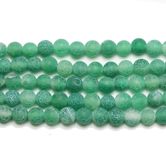 Green Matte Dyed Fire Crackle Agate 6mm  Round