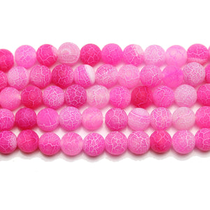 Pink Matte Dyed Fire Crackle Agate 6mm  Round