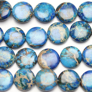Imperial Jasper Dyed Blue 15mm  Lentil