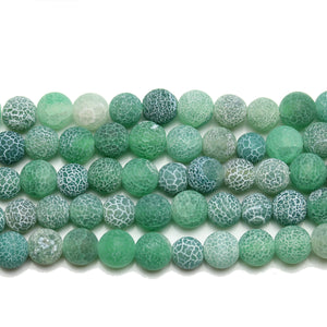 Green Matte Dyed Fire Crackle Agate 8mm  Round