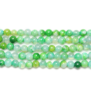 Semi Precious Dyed Green Agate Stone 4mm  RoundBeads by Halcraft Collection