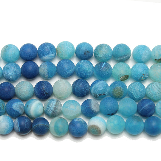 Aqua Matte Dyed Fire Crackle Agate 10mm  Round
