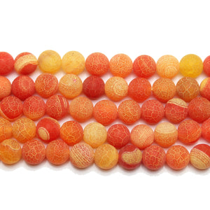 Bead, Beads, Semi-precious, Semiprecious, Stone Beads, Stone Bead, Round, Round Beads, Round Bead, Orange, Matte, Dyed Agate, Agate, Dyed, 10mm