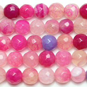 Beads, Bead, Semi-precious, Semiprecious, Semi Precious, Semiprecious Beads, Semiprecious Bead, Stone, Stone Beads, Stone Bead, Round, Round Beads, Round Bead, Dyed, Dyed Stone, Dyed Agate, Pink, Purple, Faceted, 6mm