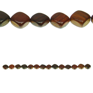 Costa Rican Rosewood Diamond 11mm Beads by Halcraft Collection
