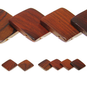 Costa Rican Rosewood Square Top Hole 30mm Beads by Halcraft Collection