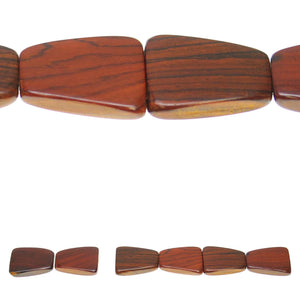 Costa Rican Rosewood 3 Hole Tapered 25x32mm Beads by Halcraft Collection
