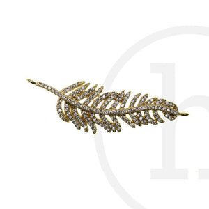 CZ 14K Gold Plated Crystal FeatherConnector by Halcraft Collection